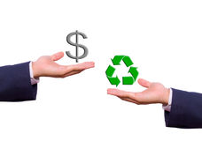 Hand exchange dollar sign and recycle icon Royalty Free Stock Photos