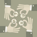 Hand exchange money signs Royalty Free Stock Photo