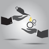 Hand exchanging gallon oil and gear   icon Royalty Free Stock Photography