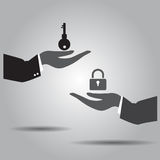 Hand exchanging key  and lock   icon Royalty Free Stock Photography