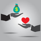 Hand exchanging money and heart  icon Royalty Free Stock Images
