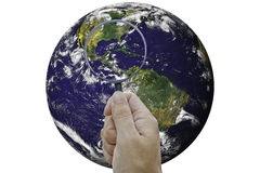 Hand explorer the world. Royalty Free Stock Photo