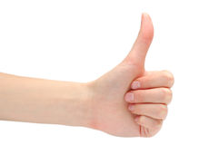 Hand expressing positivity. On white background Stock Photography