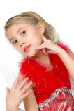 Hand Expressions. Little girl pretends to be on the phone with her fingers. Child using sign language or hand signals to convey a message Royalty Free Stock Photography