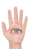 Hand and eye Royalty Free Stock Photography