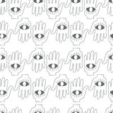 Hand with eye. Seamless background. Seamless background. Monsters and freaks. Set 20. Hand with eye. Black-white. Vector illustration Royalty Free Stock Photography