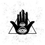 Hand and eyes. Vintage vector illustration of hand and eyes. Hand and two eyes Stock Photography