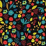 Hand färgrik dragen blom- modell vektor illustrationer