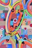 Hand för abstrakt begreppcirkelvattenfärger - gjord teckning Fotografering för Bildbyråer