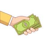 Hand för affärsman som ger pengar för kassa för dollarräkningar stock illustrationer