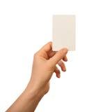 hand för blankt kort Arkivfoton