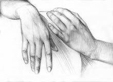 Hand för blyertspennateckning Royaltyfri Fotografi