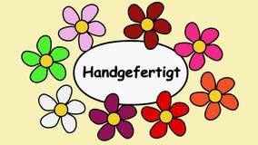 Hand för Deutsch gjord video inskrift 4k - Färgblommor runt om handgjord text
