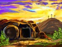 Hand för illustration för påskJesus Christ vektor Arkivbild