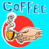 hand för kaffekopp etikett också vektor för coreldrawillustration Royaltyfria Foton