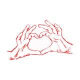 Hand för klotter för illustrationvektor som hand dragen bildar en hjärtaform Arkivfoton