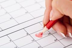 Hand för kvinna` s med blyertspennan och kalendern Royaltyfria Foton