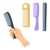 Hand för kvinna` s med frisyrtillbehören, hårkamuppsättning Plan vektor dåligt vektor illustrationer