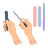 Hand för kvinna` s med manikyrtillbehören: nailfile smärgel Plan vecto Arkivbild