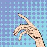 Hand för kvinna` som s frågar för Hand för kvinna` s Begreppsidé av annonseringen och promoen Illustration för stil för popkonst  Royaltyfri Fotografi