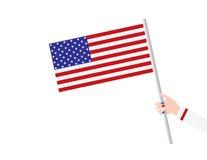 Hand för kvinna` som s rymmer USA flaggan Vektor Illustrationer