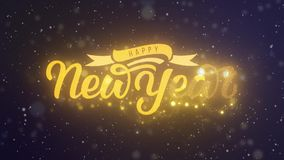 Hand för lyckligt nytt år som märker den 2D animeringen Guld- bokstäver med band- och garneringfestoonen Bakgrund med att falla arkivfilmer