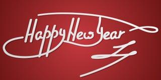 Hand för lyckligt nytt år som märker text på en röd bakgrund hand-gjord vektorkalligrafi, royaltyfri illustrationer