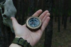 Hand för man` s med en kompass mot en pinjeskog och en hästskalle som hänger från träd Arkivfoto