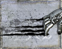 Hand för metallcyborgrobot som river sönder väggen Arkivbild