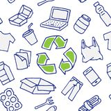 Hand för modell för återanvändbar sakervektor dragen sömlös royaltyfri illustrationer