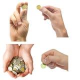 hand för myntsamling Arkivbilder