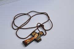 Hand för oskuldGuadalupe kors - gjord hänge arkivfoto