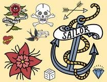 Hand för stil för konst för färgpulver för tatuering för tappning för gammal skola dragen retro tatuera vektorn för grafisk teckn Royaltyfri Bild