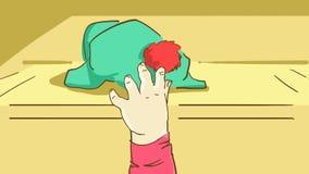 Hand för tecknad filmbarn` som s tar en hatt på hyllan Fotografering för Bildbyråer