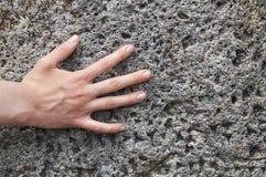 Hand för ung flicka` som s trycker på en forntida sten med kilskrift- handstilar royaltyfri foto