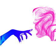 Hand and face. Girl face silhouette with hand on white background Royalty Free Stock Images