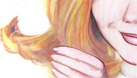 Hand and face. A drawing of a woman holding her hand up. This is a completely original drawing of my own execution Royalty Free Illustration