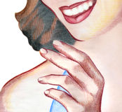 Hand and face. A drawing of a woman holding her hand up Stock Photos