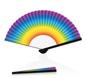 Hand Fan Colorful Rainbow Gradient. Hand fan - rainbow colored - for Carnival, Fasching and Mardi Gras. Isolated vector illustration on white background Stock Photography