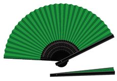 Hand Fan Open Closed Green Black. Hand fan, green an black, open and closed, three-dimensional, realistic - isolated vector illustration on white background Stock Image