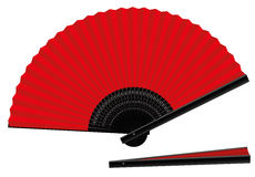 Hand Fan Open Closed Red Black Stock Photo