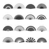 Hand fan vector icons. Oriental souvenir elegance, folding eastern accessory illustration Stock Photos