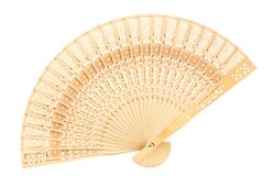 Hand fan. Wooden folding hand fan isolated on white background royalty free stock image