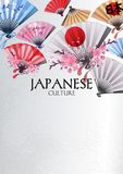 Hand fans design. Hand fans in various colors with traditional japanese design and sakura decorations. Vector illustration isolated on white background Royalty Free Stock Photos