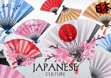 Hand fans design. Hand fans in various colors with traditional japanese design and sakura decorations. Vector illustration isolated on white background Stock Photography