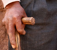Hand Of Farmer. Hand of old man in south america Stock Photos