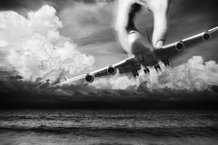 Hand of Fate. Flight safety concept Royalty Free Stock Photo