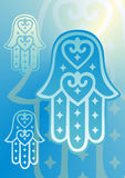 Hand of fatima blue. Vector drawing of the hands of fatima Royalty Free Stock Images