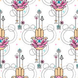 Hand of Fatima Watercolor Seamless Pattern Royalty Free Stock Images