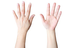 hand fem gör tecknet Arkivfoton